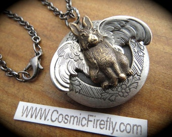 Flying Rabbit Locket Necklace Rabbit Necklace Steampunk Locket Gothic Victorian Style Vintage Inspired Whimsical Jewelry