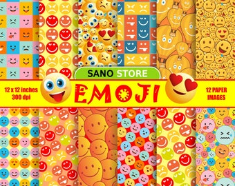 emoji smile Backgrounds craft scrapbooking  digital paper pack - printable papers.  - Instant download - 12x12 inches. 300 dpi.