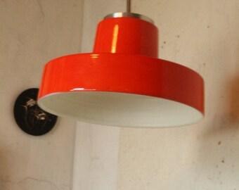 Bright orange vintage ceramic pendant light