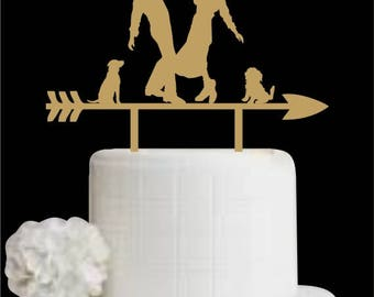 Wedding Cake Topper with Two Dog, Custom Cake Topper for Wedding, Bride and Groom Cake Topper with Pet, Cake Topper for Anniversary