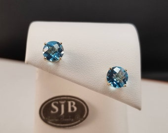 Blue Topaz Earrings, 14k Blue Topaz Stud Earrings, 7mm 14k Yellow Gold Blue Topaz Stud Earrings, Blue Birthstone Earrings, #E1163