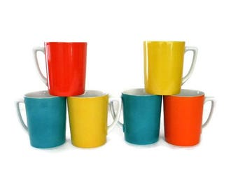 70s Retro Porcelain Cups Mugs Yellow Orange Red Teal 7 Oz Excellent Condition