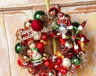 Christmas wreath made from upcycled ornaments; Ornament wreath