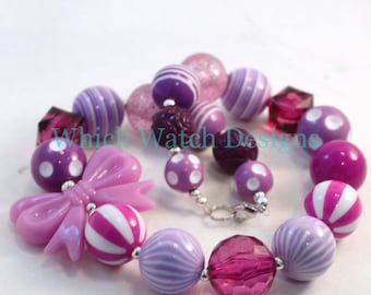 Purplelicious.. Chunky Light and Dark Purple Toddler Bubblegum Necklace, Bow