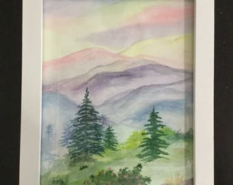 Smoky Mountains, Appalachian Mountains , Blue Ridge Mountains, Watercolor, Rustic white framed, Landscape, Mountain Landscape