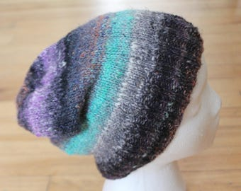 Slouchy hand knit adult beanie