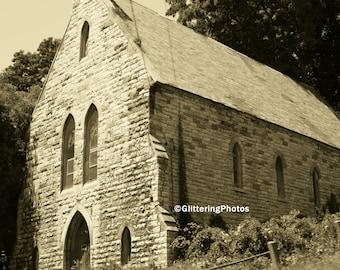Abandoned, Church, Gothic, Architecture, Fonda, New York, Adirondack Mountains, Fine Art Photography, 8 x 10 Print, Sepia, Upstate New York