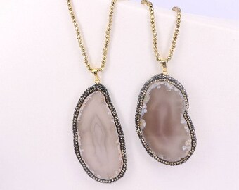 Nature slice agate pendant necklace with gold hematite chain necklace
