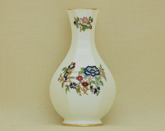 Royal Tara Fine Bone China Tara Hall Vase, with Butterfly and Red & Blue Flowers, Galway, Ireland