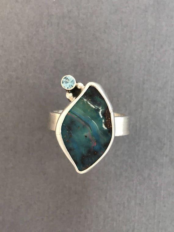 Boulder Opal, Aquamarine, ring, handmade, sterling silver