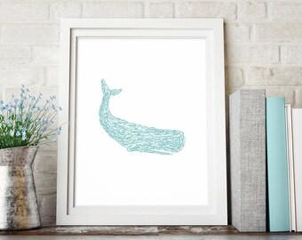 Whale Print, Sketch Art Print, Minimalist Art, Turquoise Teal Aqua, Wall Print, Whale Wall Decor, Printable Wall Art, Downloadable Print