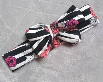 Stipes & Floral headwrap
