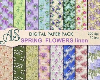 Digital Spring Flowers Linen Paper Pack, 16 printable Digital Scrapbooking papers, linen Fabric Digital Collage, Instant Download, set 100