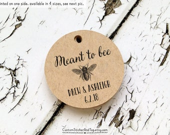 "50 meant to bee tags, circle 1.5"", wedding favor tag, custom wedding tag, honey tag, vintage tag, vintage bee tag, hang tag, gift tag (T-57)"