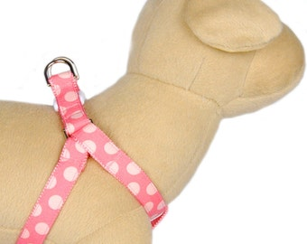 Coral pink polka dots dog harness cotton fabric cute step in dog harness for puppy small dogs  large dog.Girly dog harness Dog leash