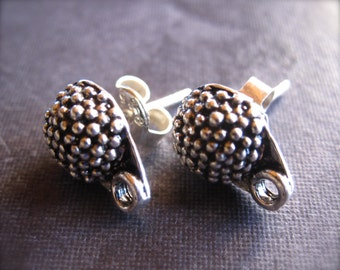 Oxidized Dotted Earring Posts - sterling silver - with attached closed jumpring