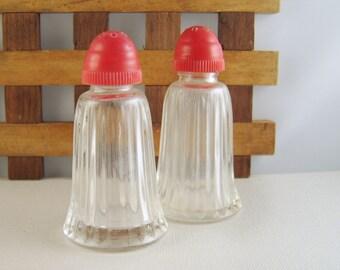 Vintage Salt & Pepper Shakers Glass Red Lids
