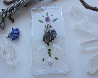 iPhone 7 Crystal Phone Case ~ butterfly wing, amethyst, clear quartz