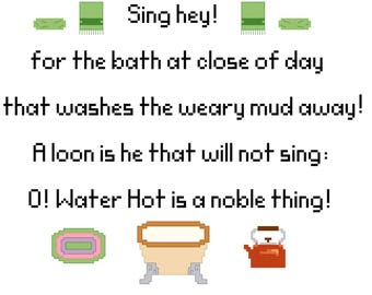 Hobbit Bath cross stitch PDF pattern download