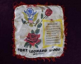 Fringed Satin Souvenir Pillow Cover Case Fort Leonard Wood Missouri