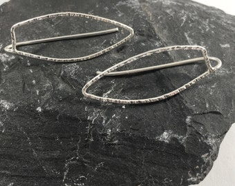 Sterling Silver Feather Threader Earrings Contemporary Hammered Jewelry Petal Dangle Handmade Unique Christmas Gifts Her Stocking Stuffer