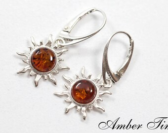 KB0014 Sterling Silver Ag 925 & Natural Baltic Amber Sun Dangle Earrings