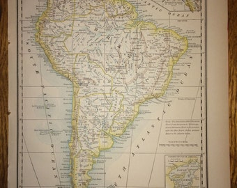 Brazil paraguay guayana or southern portion of south america south america or northern portion of south america large map 1888 rand mcnally standard world atlas antique gumiabroncs Images