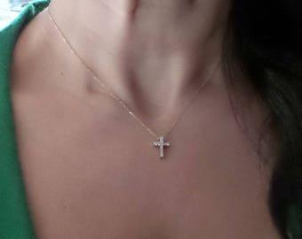 Diamond Cross Necklace/ 14k Gold Cross Pendant/ Diamond Cross Necklace/ Mini Cross/ Dainty Cross Necklace/ Gold Cross/ Gift for Her/Birthday