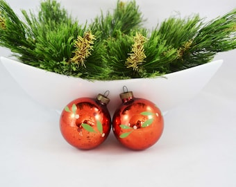 Vintage Hand Painted Red Glass Ball Christmas Ornaments, Hand Painted Ornament