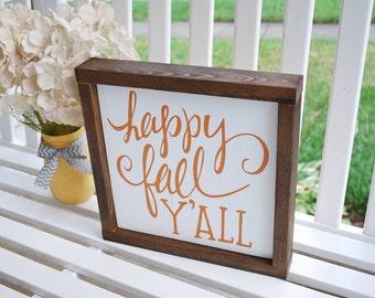Happy Fall Y'all wood sign, Fall decor, autumn decor, fall, fall wood sign, fall decor, autumn, porch decor, fall sign, fall yall,happy fall