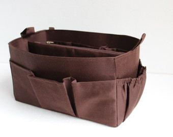 Purse organizer Fits large Longchamp Le Pliage- Bag organizer insert in Coffee Brown