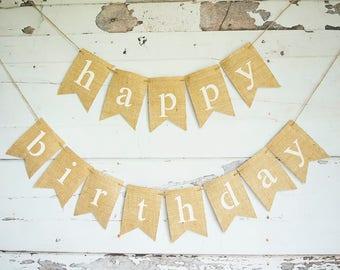 Happy Birthday Decoration, Birthday Party Sign, Happy Birthday Banner, Birthday Decor, Photo Prop, Burlap Banner, B665