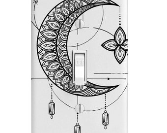 Star Crescent Moon with Dangles Light Switch Cover, Printed, Single Light Switch, Rocker Switch Plates, outlet covers, wall decor, bedroom
