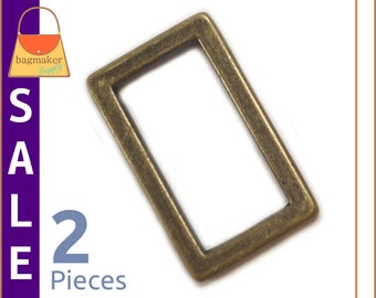 "On Sale : 1 Inch Flat Cast Rectangle Ring, Antique Brass Finish, 2 Pieces, Handbag Purse Bag Making Hardware Supplies, 1"", RNG-AA213"