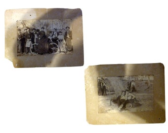 Pair of Old Photos - Eastern Dudes & Ladies with Winchester Gun and Victorian Bicycle
