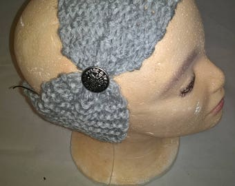 Handknitted headband wide women fashion with button