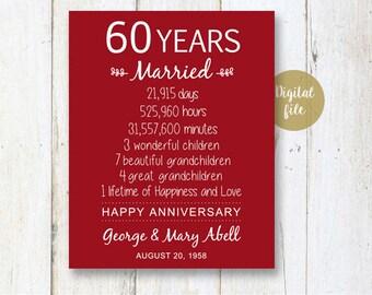 60th Anniversary Gift - 60 years Wedding Anniversary - Personalized 60th Wedding Print - Anniversary Print - DIGITAL file!