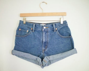 Vintage Levi's Medium Wash High Waisted Rise Cut Offs Cuffed Denim Shorts - 28