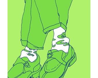 Subway Frog Socks - giclee-printed greeting card from original drawing, blank inside