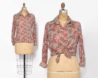 Vintage 80s Cacharel TOP / 1980s Floral Print Cotton Button Down Shirt Blouse M