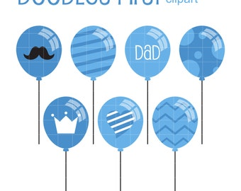 Father's Day Balloons Clip Art for Scrapbooking Card Making Cupcake Toppers Paper Crafts