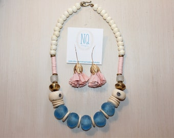 Caribbean Blue Glass Bead Necklace