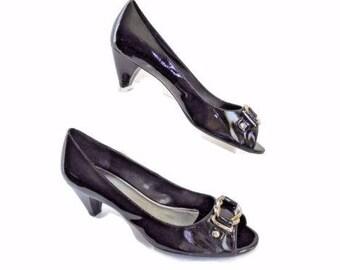 Franco Sarto Size 10 Med Kitten Heel, Open Toe Patent Leather Pump