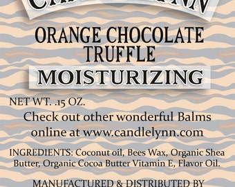 Orange Chocolate Truffle  Lip Balm by Candle Lynn - Made with Organic Shea and Cocoa Butters