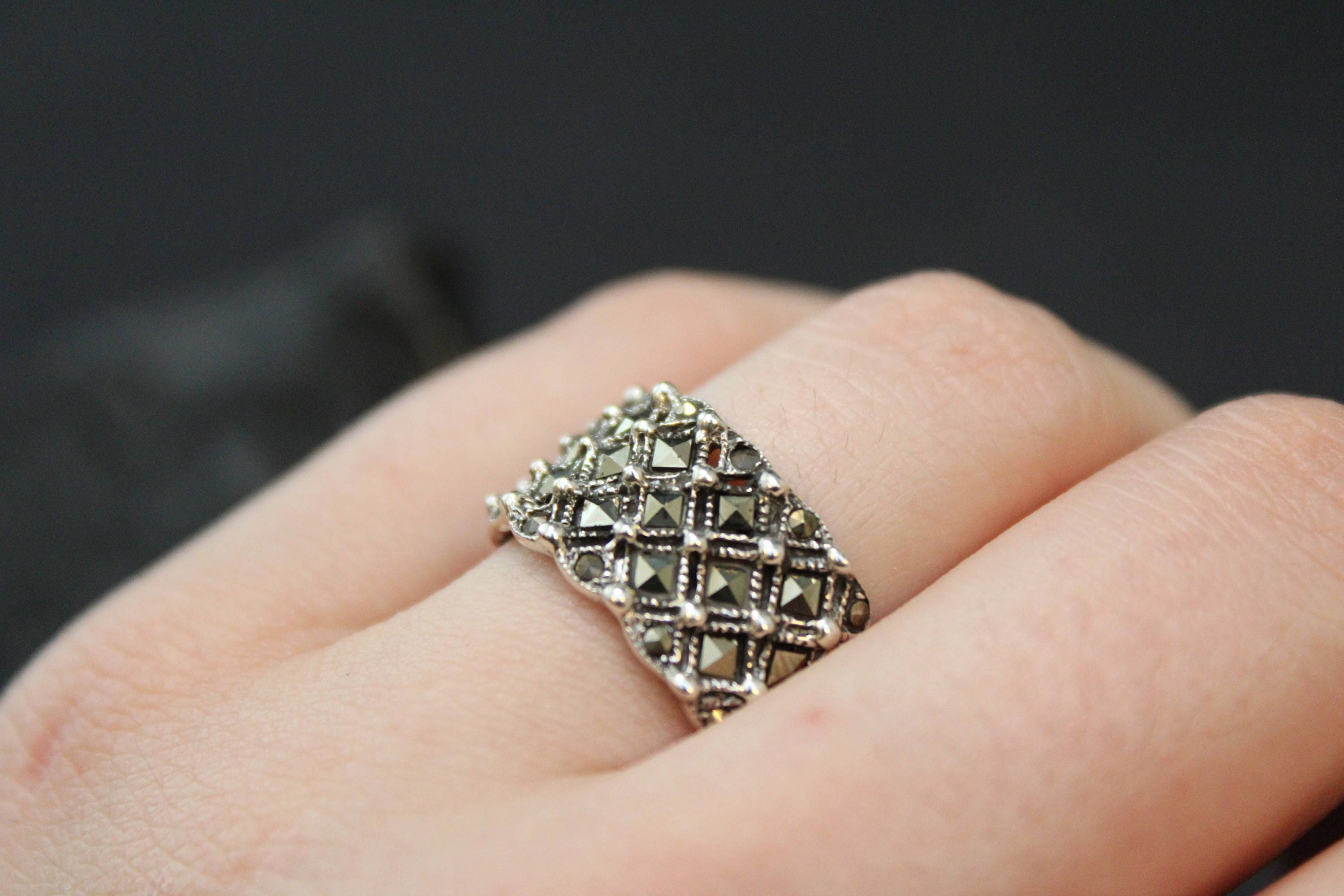 marcasite products ring stars art stone deco silver shot sterling rings moon