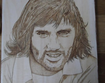 Pyrography - wood burning art  - George Best