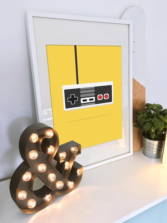 Nintendo Poster NES Print Game Pad Video Game Wall Art Retro