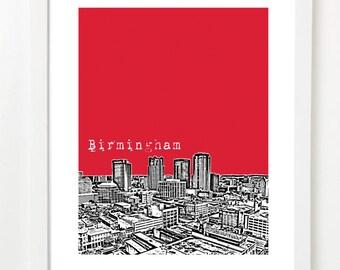 Birmingham Alabama Art Print - Birmingham Skyline Poster - Alabama State Art
