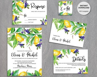 5-Piece Suite-Wedding Invitation Templates, Printable Suite, Lemon and Berries Wedding Invite, Instant Download, Editable text /Elena