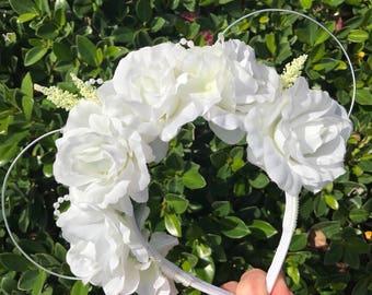 White Floral Feminine Mouse Ears